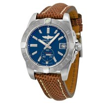 Breitling Galactic 36 Automatic Blue Dial Brown Lizard Leather...