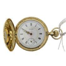 Elgin Lady Elgin Full Hunter Pocket Watch 14k Solid Gold...