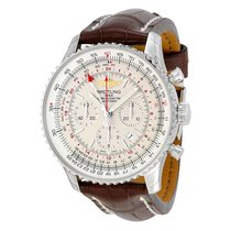 Breitling Navitimer GMT Automatic Silver Dial Brown Leather...
