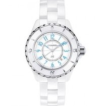 Chanel J12 33mm White with Blue Numbers Ref H3826
