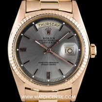 Rolex 18k Rose Gold Rare Silver Baton Dial Day-Date Vintage 1803