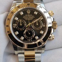 Rolex Cosmograph Daytona 40 black dial in stainless steel and...