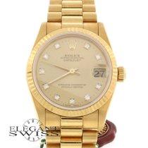 Rolex President Datejust Original Diamond Dial Midsize Gold 68278
