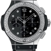 Hublot Big Bang Steel Shiny Steel Diamonds Leather Men`s Watch