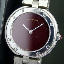 Cartier Cal. 81 Quartz 26mm Ladies Steel Watch Maroon Dial...