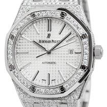 Audemars Piguet Royal Oak 41 Steel Watch Custom Diamond Set...