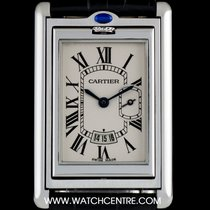 Cartier Stainless Steel Silver Roman Dial Tank Basculante Gents