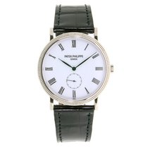 Patek Philippe Calatrava 36mm White Gold Watch Black Leather...