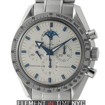 Omega Speedmaster Moonwatch Moonphase Broad Arrow White Dial...