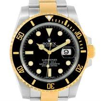 Rolex Submariner Steel Yellow Gold Black Dial Watch 116613 Box...