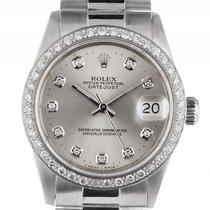 Rolex Datejust Medium 18kt Weißgold Diamond Automatik Armband...