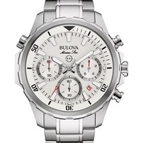 Bulova Mens Marine Star Chronograph - Stainless - White Dial -...