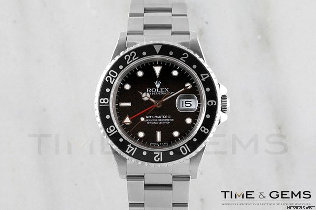 Rolex Stainless Steel Black Dial Black Bezel Oyster Bracelet GMT II