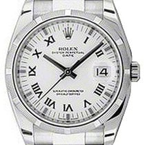 Rolex Oyster Perpetual 115210-WHTRFO 34mm White Roman Engine-T...