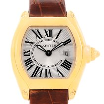 Cartier Roadster Ladies 18k Yellow Gold Brown Strap Watch...