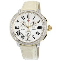 Michele Serein Chronograph Ivory Dial Bone Leather Ladies Watch