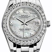 Rolex Pearlmaster 34 81299 White Mother of Pearl Roman Diamond...