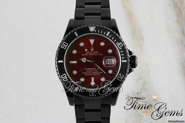 Rolex Black Coated DLC/PVD Red Dial Submariner