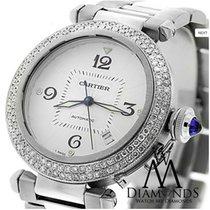 Cartier Pasha W31059h3 38mm Automatic Watch With 2 Row Diamond...