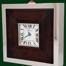 Cartier Desk Alarm Clock Steel Wood Box&Papers