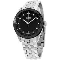 Oris Diamond Black Dial Stainless Steel Unisex Watch 733767144...