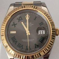 Rolex Datejust II 41mm 18k/Steel Slate Green Roman Fluted Bezel