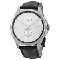 Gucci G-Timeless Automatic Silver Dial Black Leather Strap...