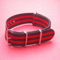 Nato-Armband Nylonband, Durchzugsband 20mm, Farbe: Schwarz Rot