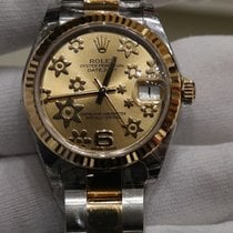 Rolex Datejust II 31 champagne raised floral motif dial in...