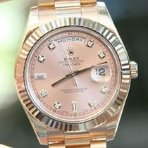 Rolex Mens President Day-date Ii 18k Rose Gold 41mm Pink Dial...
