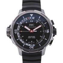 IWC Aquatimer Deep Three Black Dial Rubber Strap Men's Watch