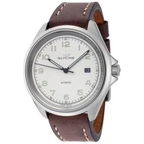 Glycine Combat 7 White Dial Automatic Men's Leather Watch