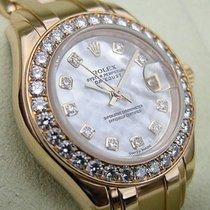 Rolex Ladies 18k Yg White Mop Diamond Pearlmaster Masterpiece...