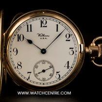 Waltham 9k Y/G White Arabic Dial Half Hunter Vintage Pocket Watch