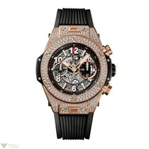 Hublot Big Bang Unico 18K Rose Gold Diamonds Rubber Titanium...