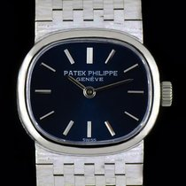 Patek Philippe 18k White Gold Blue Dial Horizontal Ellipse...