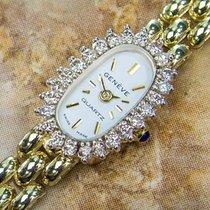 Geneve Quartz 14k Gold Swiss Made Diamond Classic Watch For...
