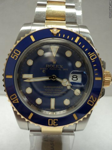 Rolex Submariner 116613 TT Preowned with papers V Serial