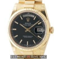 Rolex Day-Date President 18k Yellow Gold Black Stick Dial Ref....