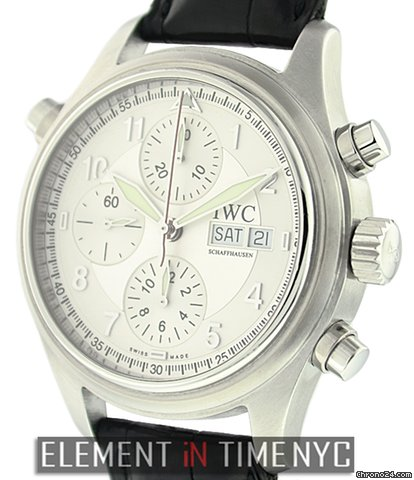 IWC Pilot Doppel Chronograph Silver Spitfire Dial IW3713-43