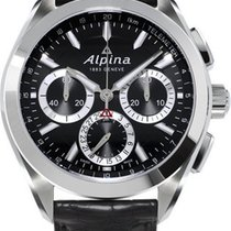 Alpina Alpiner 4 Flyback Chronograph Black Dial Leather Strap...