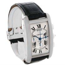 Cartier Tank Americaine Xl Chronograph 18k White Gold Watch...
