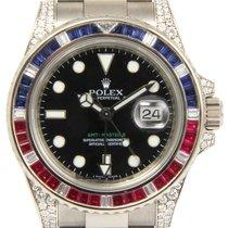 Rolex GMT Master II 116759SARU Ruby Sapphire Diamond 18k White...