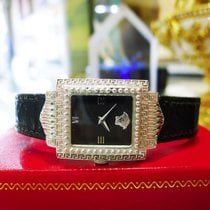 Versace Signature Medusa White Gold Plated Black Leather G20...