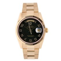 Rolex DAY-DATE 36mm Rose Gold Watch Black Arabic Dial Oyster