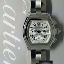 Cartier Roadster Chronograph Stainless Steel Silver Dial Mens...