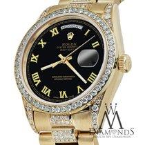 Rolex 18k Yellow Gold Presidential Day Date 36mm Black Roman...