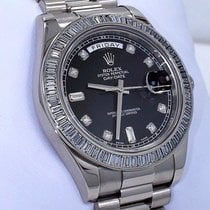 Rolex Day-date II President 218399 18k W Gold Fact Baguettes...