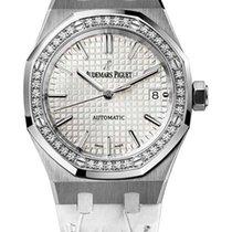 Audemars Piguet Royal Oak Stainless Steel Diamond Leather...