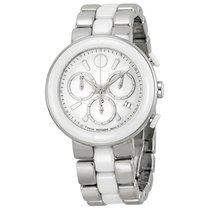 Movado Chronograph White Dial White Ceramic Ladies Watch 0606758